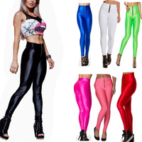 2014 High Waist Neon Leggings For Women Zipper Brand Gym Yoga Supper Stretched Plux Size Fitness Best Selling 13 Colors