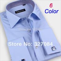 2014 Fashion mens cufflink shirts High Quality long sleeve french cuff dress shirt Boss men Cufflinks free Plus size 4XL