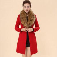2014 new women's Autumn and winter fashion Slim oversized fur collar coat wool coat female aristocratic demeanor