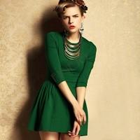 2014 New Fashion Princess office Women Dress lady dress summer dresses for women 3/4 sleeve great qulity Vintage Dress 19286