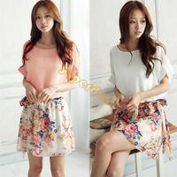 New Summer 1 Piece dress Wholesale casual Women Crewneck Chiffon Short Sleeve Mini Printing Floral Dress 2 colors b11 SV001282