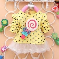 2014 summer princess baby girls dancing clothing princess children tutu kids dress dots cotton lace dress 0~5age #7 SV004273
