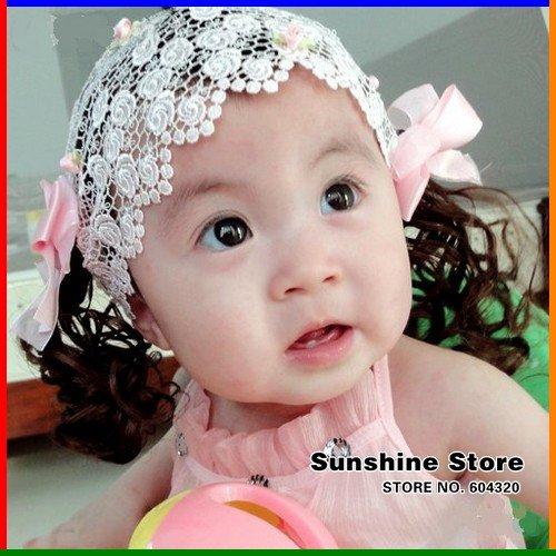 Sunshine store #2B2205 retail 1 piece BABY Headband handmade white princess headband with wig/bowknot/flower Free shipping(China (Mainland))