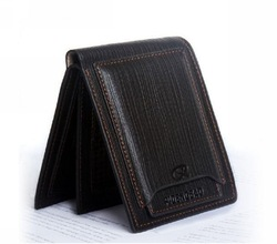 FREE SHIPPING MENS REAL GENUINE LEATHER WALLET POCKETS CARD CLUTCH CENTE BIFOLD PURSE(China (Mainland))