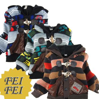 [FEIFEI].kids jacket Children's stripe knitted winter coat boy's coat baby jacket  order A11162