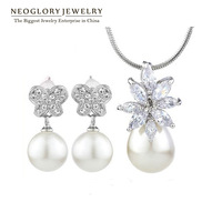 Neoglory Fashion Simulated Pearl Jewelry Sets Zircon Pendant Necklace & Earrings Wedding Gift Statement Jewelry for Bridal