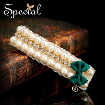 Special Hair Accessories Man Made Pearls Synthetic Diamond Snow Silk Handmade Design Bowknot Hairpin Free Shipping FSM10A0103