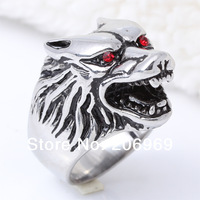 Wholesale (5 Pcs/Lot) 316L Stainless Steel Men's Wolf Head Ring,Retro Style Animal Jewelry New 2013,Free Shipping W016