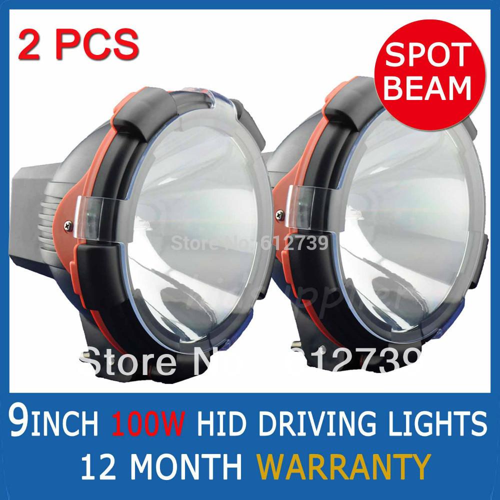 "PAIR 100W 9"" INCH HID XENON DRIVING SPOTLIGHTS OFF ROAD External Lights ATV 12V Big Power 4X4 Spotlight 4WD Spot Beam wholesale(China (Mainland))"
