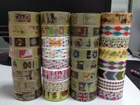 (1627 Patterns Hot !!! ) Free shipping .DIY rice paper tape, self-adhesive masking tape for scrapbook, Mix designs 200pc/Lot