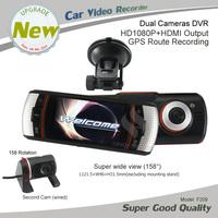 New 2.7 inch Full HD 1080P Car DVR dual Camera 5.0 Mega pixel HDMI port GPS logger Wide View Angle Vehicle Video Recorder