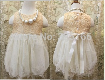 Fashion Girl Summer Lantern Lace Rose Dress Kids Clothes Wholesale 5pcs/lot Most Country Free Shipping