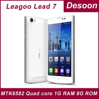 "16GB card gift! Original Leagoo Lead 7 1GB RAM 8GB ROM MTK6582 Quad core Android4.4 Smartphone 5"" QHD OGS IPS Screen 13MP/Koccis"