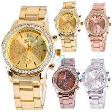 Best sale Geneva Stainless Steel Crystal Wrist Watch women casual watch Ladies Quartz Watch Analog wristwatches SV10 SV007023(China (Mainland))