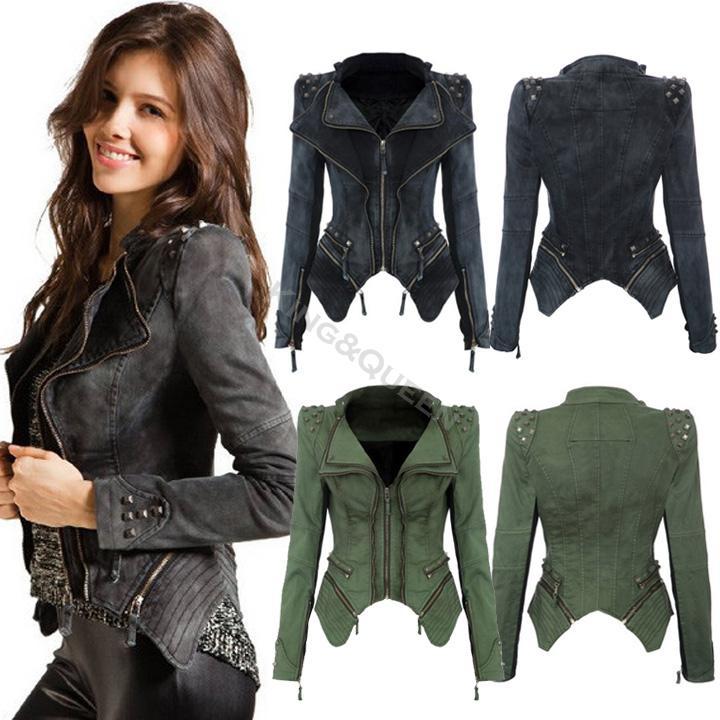 2014 New Winter S-XL fashion Star jeans women Punk spike studded shrug shoulder Denim cropped VINTAGE jacket coat b4 SV001070(China (Mainland))