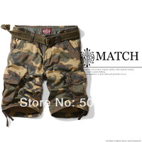 Free shipping matchstick men's camouflage cargo shorts 100% cotton casual shorts Plus size 38 40 42 44 S3596
