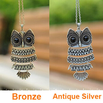 Korea Adorn Article Vintage Owl Pendants Necklace,Ancient the Owl Sweater Chain Jewelry N1177 N1176(China (Mainland))
