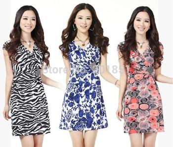 Plus Size:S-XXXL Black,Pink,Blue,Orange Free Shipping Guaranteed 100% 2015 New Fashion Women Cotton Print V-Neck Summer Dresses