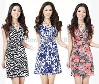 Plus Size:S-XXXL Black,Pink,Blue,Orange Free Shipping Guaranteed 100% 2014 New Fashion Women Cotton Print V-Neck Summer Dresses