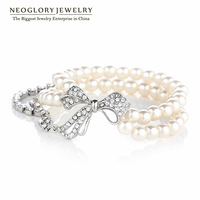 Neoglory Fashion Pearl  Rhinestone Bangles & Bracelets Brand Jewelry Gifts for Women Charm Designer Costume 2014 New Romantic