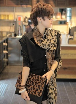 Free Shipping !2014 NEW Style, Classic Leopard Scarf Long Chiffon Scarf  Women's Korean Version Silk Scarf,S-028