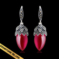 Special Drop Earrings 925 Silver Ruby Classic Vintage Design Foreign Style Free Shipping Luxury Jewelry EH05B04Y