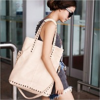 New style fashion PU leather shoulder bags Rivet women bag Black and beige can choose