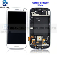 100% full size 4.8 inch for Samsung Galaxy S3 i9300 LCD Display + Digitizer Touch Screen Glass+Frame Assembly white Free ship