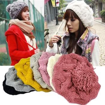 Holiday Sale 2014 New Beanie Hat Free Shipping Fashion Women's Winter Warm Knit Wool Crochet Warm Pumpkin Ball Hat 9083