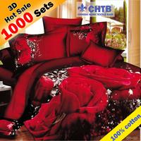 Hot!Reactive printed bed set 3d bedding set linen cotton queen king size/bedclothes duvet cover pillowcase rose coverlet 800TC