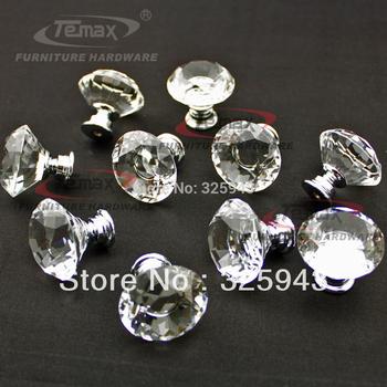 Hotsale 10pcs/lot 30mm Zinc Alloy Clear Crystal Sparkle Glass Kitchen Cabinet Knobs Handles Dresser Cupboard Door Knob Pulls