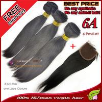 Brazilian virgin hair straight rosa UMA beauty human products 3 weave bundles with lace top closure 4 pcs lot for vip elsa queen