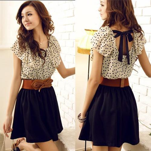 XS-XXL,With Belt, Women Hot Sale Korean Style Ruffles Short Sleeve Chiffon Polka Dots Mini Dress Y3232(China (Mainland))