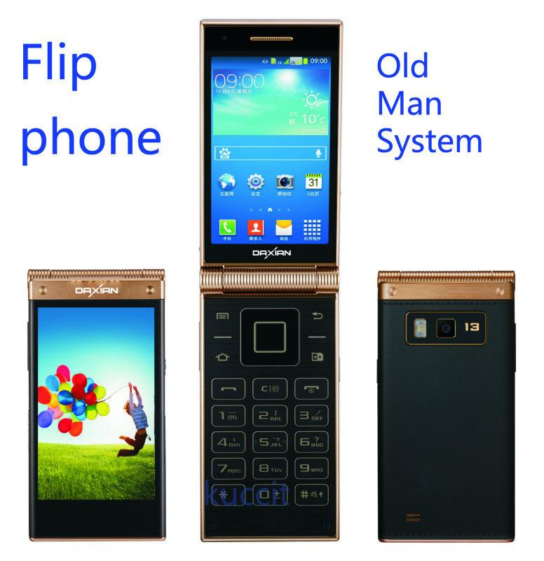 "original serior Old man phone W189 Flip Mobile phone MTK6572 Dual core 3.5"" IPS Dual Screen 3G Android 4.2 Russian W2014(China (Mainland))"