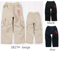 Free shipping 2~8years children clothing 2013 autumn solid cotton elastic waist straight multi colors boys full pants