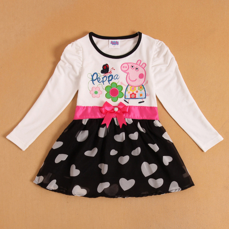 peppa pig girls summer dress tutu lace dress one piece retail christmas rose dresses fashion 2013(China (Mainland))