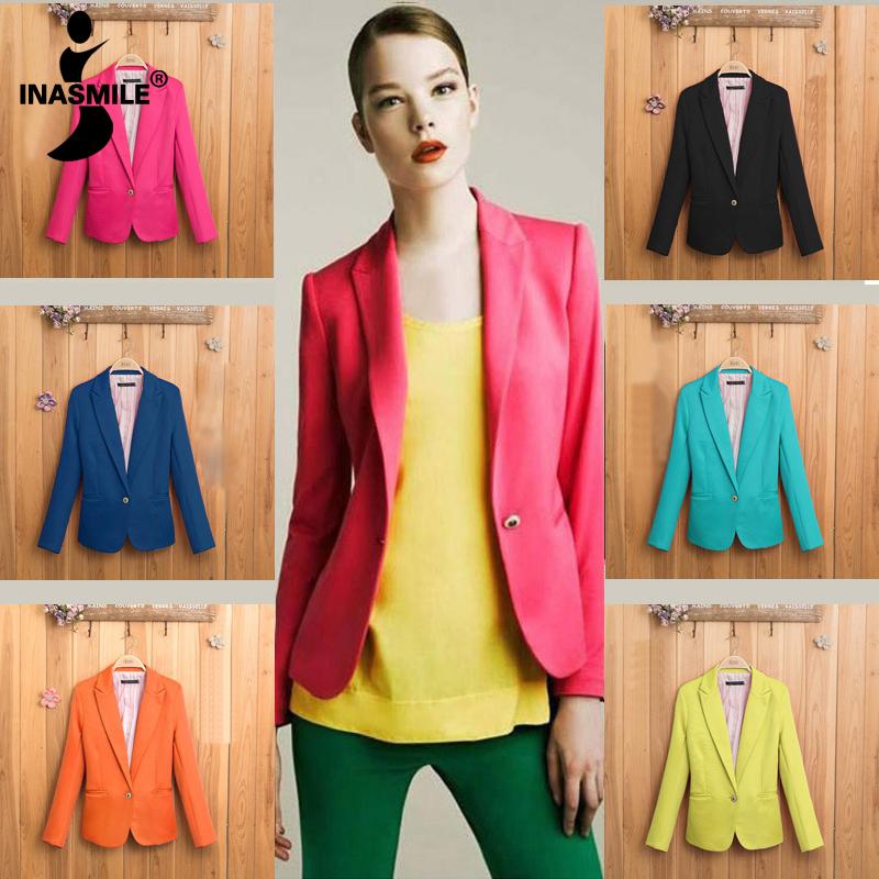 Top Sale 2014 Tops blazer women coat jacket Foldable outerwear coats jackets one button basic jacket suit blazers overcoat(China (Mainland))