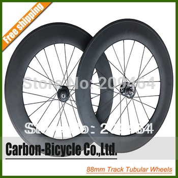 88mm tubular carbon track bike wheels fixed gear single speed bicycle wheelset flip-flop