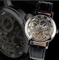 Hot Sale Silver Mens Manual Skeleton Mechanical Watch Wrist Hours Free Ship