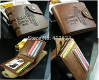 worldwide Free shipping Design mens wallet & fine genuine Leather top Center Bifold Purse brand Grid for men wallet