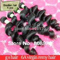 Brazilian Virgin Hair weft loose wave natural color 12-30inch 4pcs free shipping human hair weave full cuticle bella dream hair