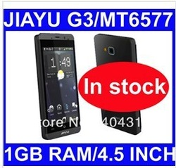 in stock free shipping Jiayu G3 MTK6577 Dual core 1GHZ CPU GPS 4.5 inch IPS screen 4G ROM1G RAM gorilla glass 8MP(China (Mainland))