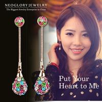 Neoglory Charm Rhinestone Gold Plated Colorful Long Drop Earrings Women Fashion Bridal Jewelry brincos 2014 New Brand Christmas