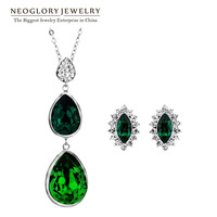 Neoglory Green Costume Jewelry Sets for Women Crystal Necklace Pendant with Earrings Set Wedding Turquoise Jewellery Brand Gifts