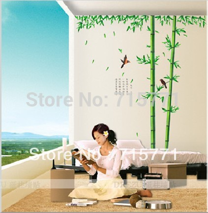 250*230CM - large chinese style bamboo wall stickers living room tv wall sofa removable home sticker wall sticker art(China (Mainland))