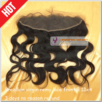 Free shipping 13x4 brazilian virgin remy human hair black natural color body wave full lace frontal closure with baby hair