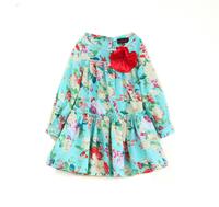 girls fashion girls cotton floral dress long sleeves kids children clothing  free shipping