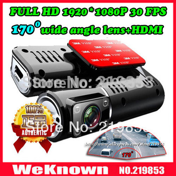 "1920*1080P Full HD car camera with 170 degree lens wide angle 4 LED night vision 2.0"" LCD+HDMI+AV Out car DVR car recorder"
