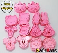 FREE SHIPPING 7packs 14sets cartoon mickey bunny Winnie hello kitty cookies mold cutter