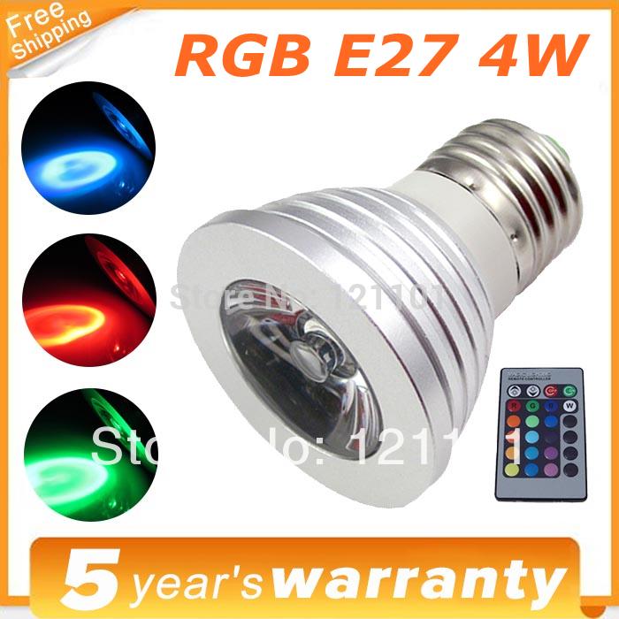 COB LED Lamp E27 4W 100-245V 220V RGB LED Light Spotlight Bulb Lamp with Remote Controller For Home Bar(China (Mainland))